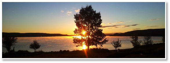 Beautiful sunrise at the Little Bow Lakeside Retreat on the Travers Reservoir in southern Alberta